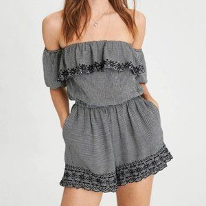 AE Gingham Puff Sleeve Romper Pockets Embroidered